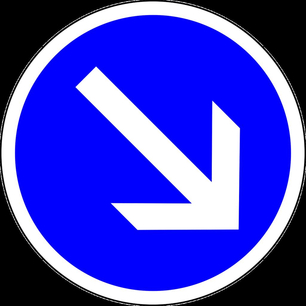 """Verkehrszeichen 222  """"Rechtsv orbei"""""""