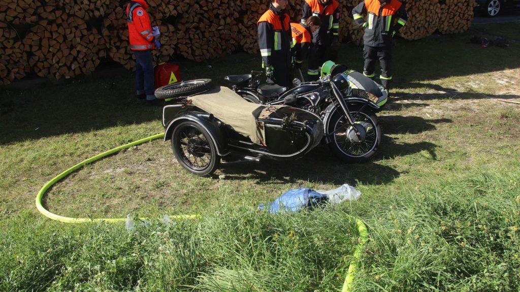 Das verunfallte Motorrad (BMW, Baujahr 1935) Foto: Pressedienst Wagner