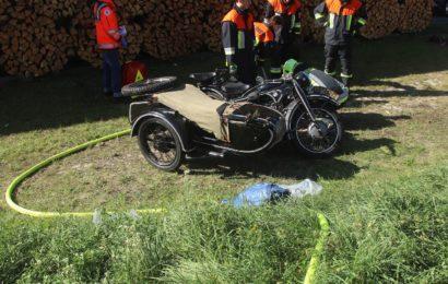 Wehrmachtsmotorrad in Wolfsbach verunglückt